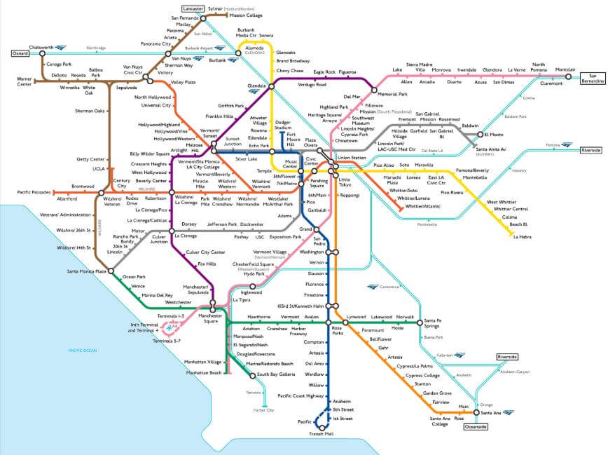Mapa metrô Los Angeles